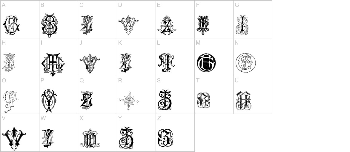 Intellecta Monograms Random Samples Seven uppercase