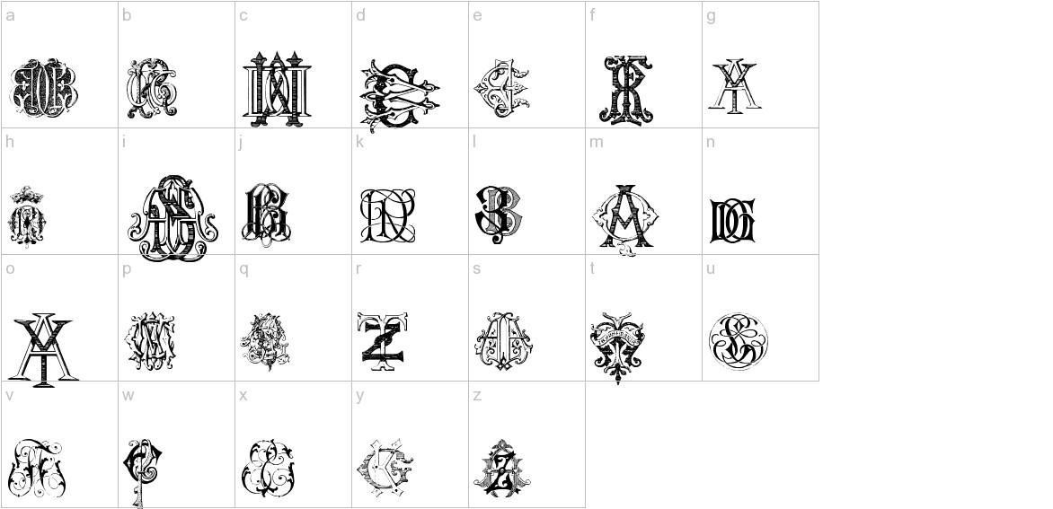 Intellecta Monograms Random Samples Two lowercase
