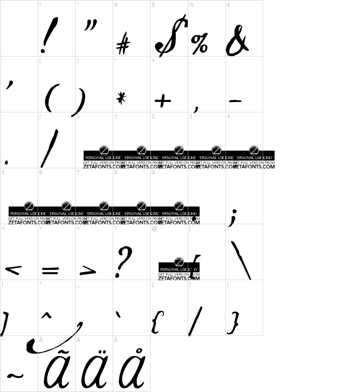 Jamscript characters