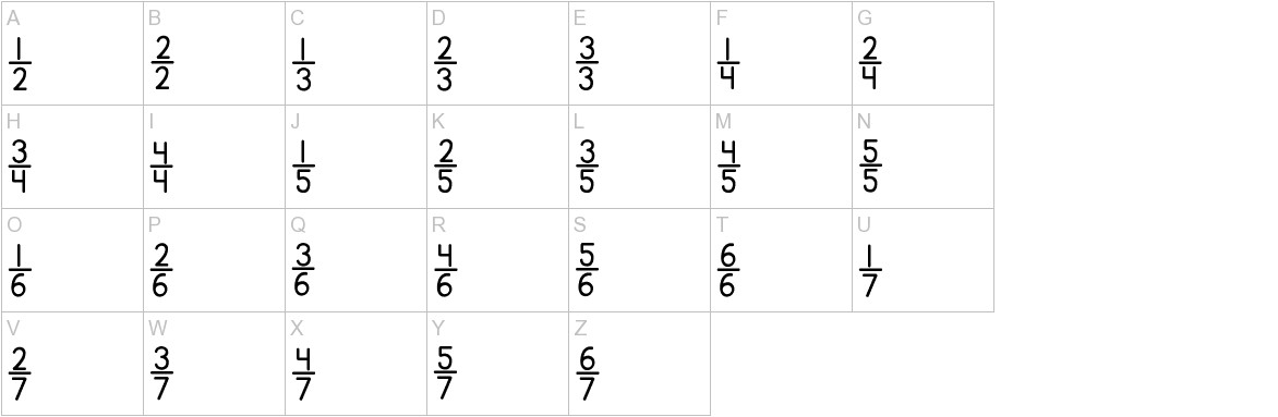 KG Traditional Fractions uppercase