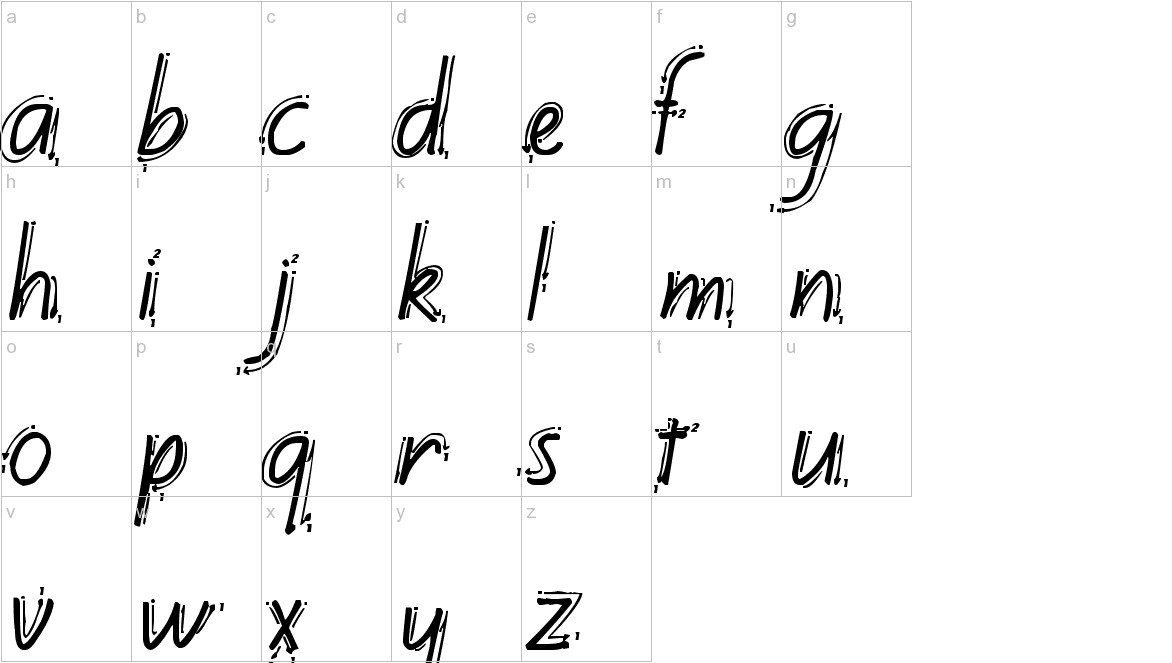 Kiwi School Handwriting with Guides lowercase