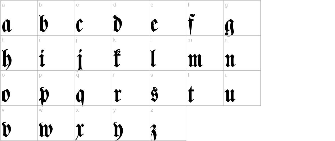 Klaber Fraktur lowercase