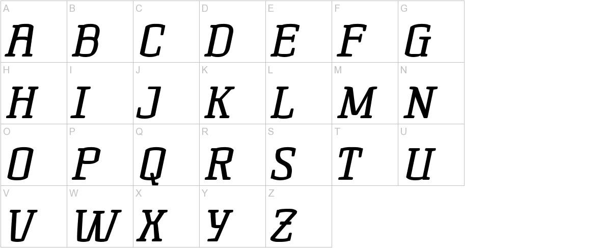 Korneuburg Slab Regular Italic uppercase
