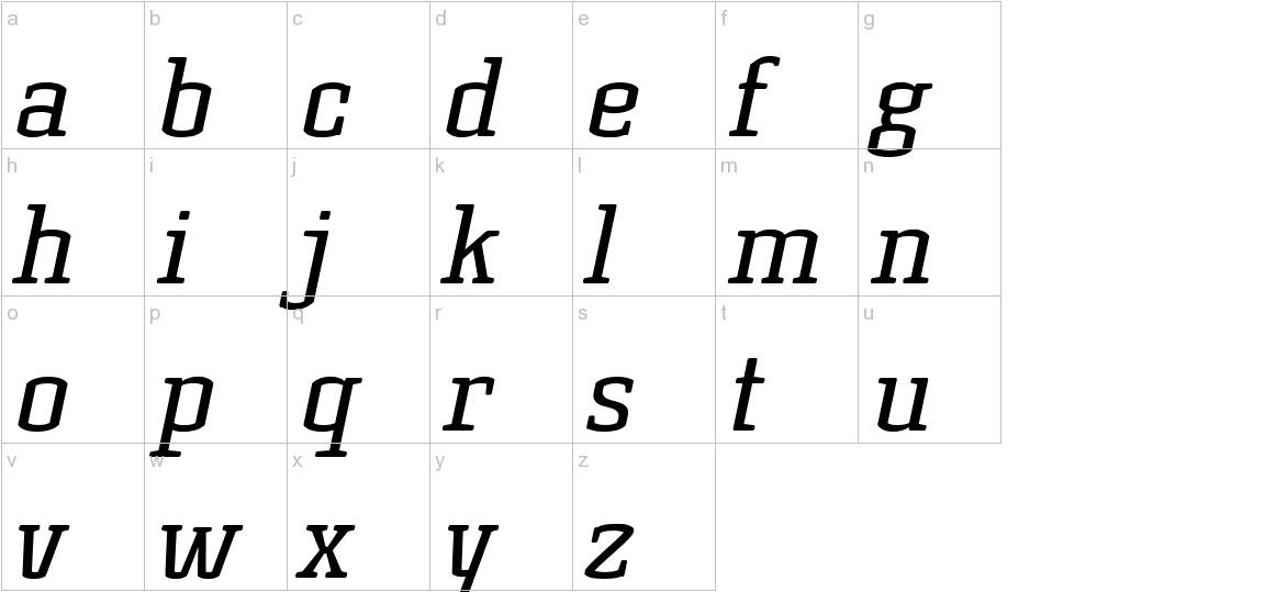 Korneuburg Slab Regular Italic lowercase