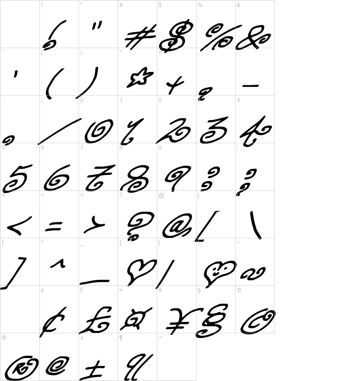 Kurly Kyoots Italic characters