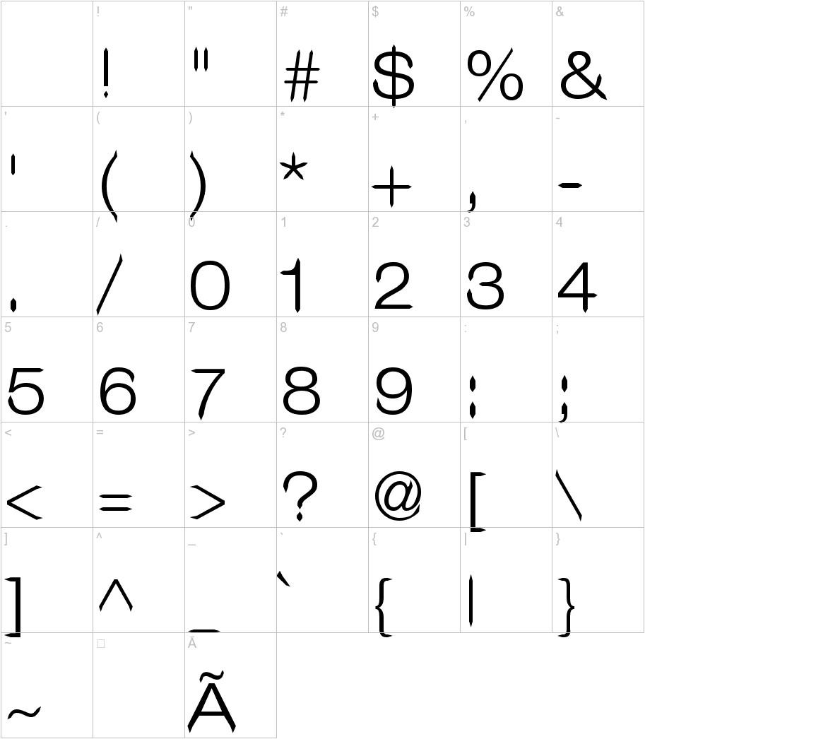 Leo Arrow Sans Serif characters