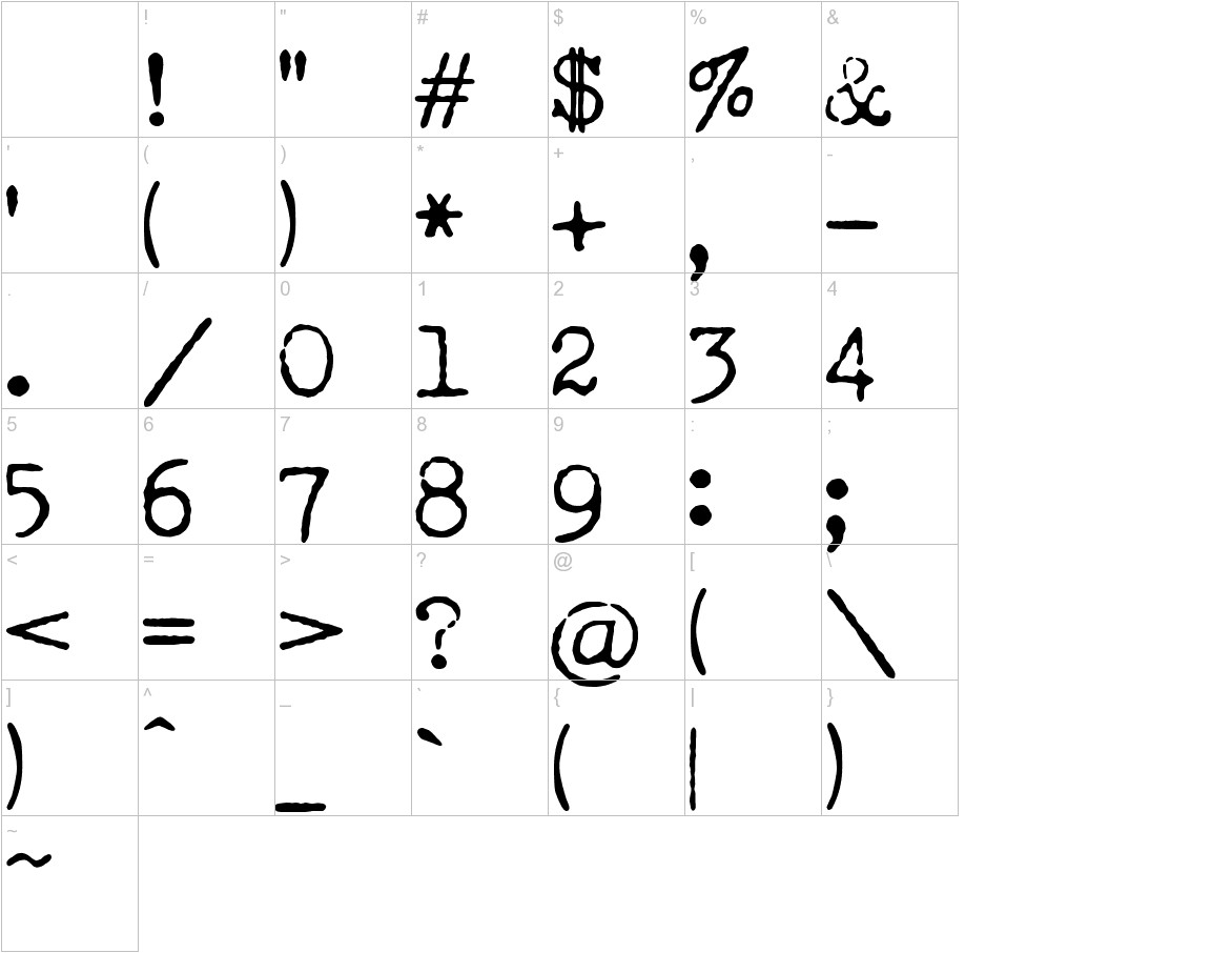 LUCKY TYPEWRITER characters
