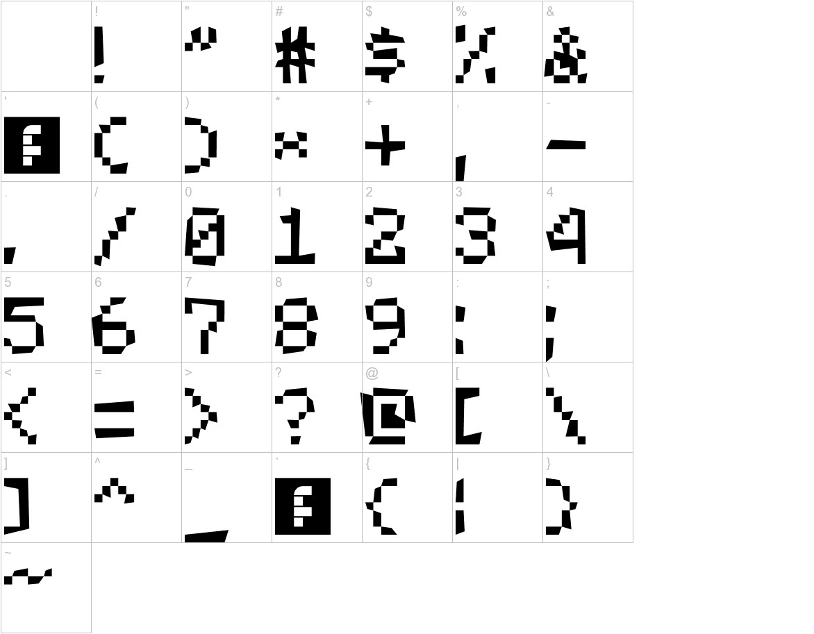 MCPEfont characters
