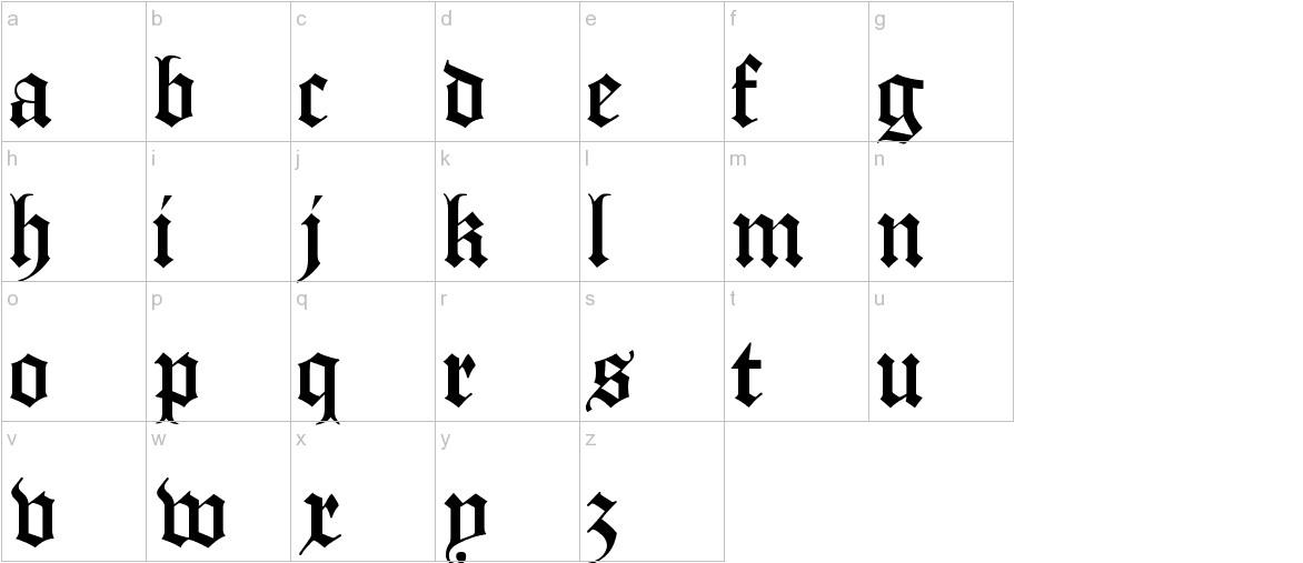 Manuskript Gothisch lowercase