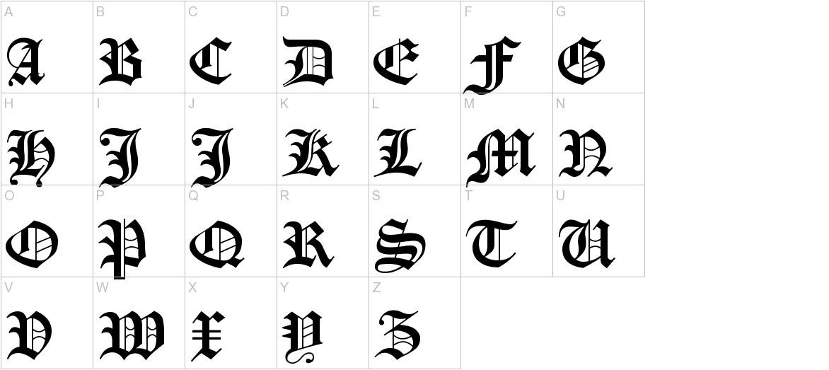 Manuskript Gothisch uppercase