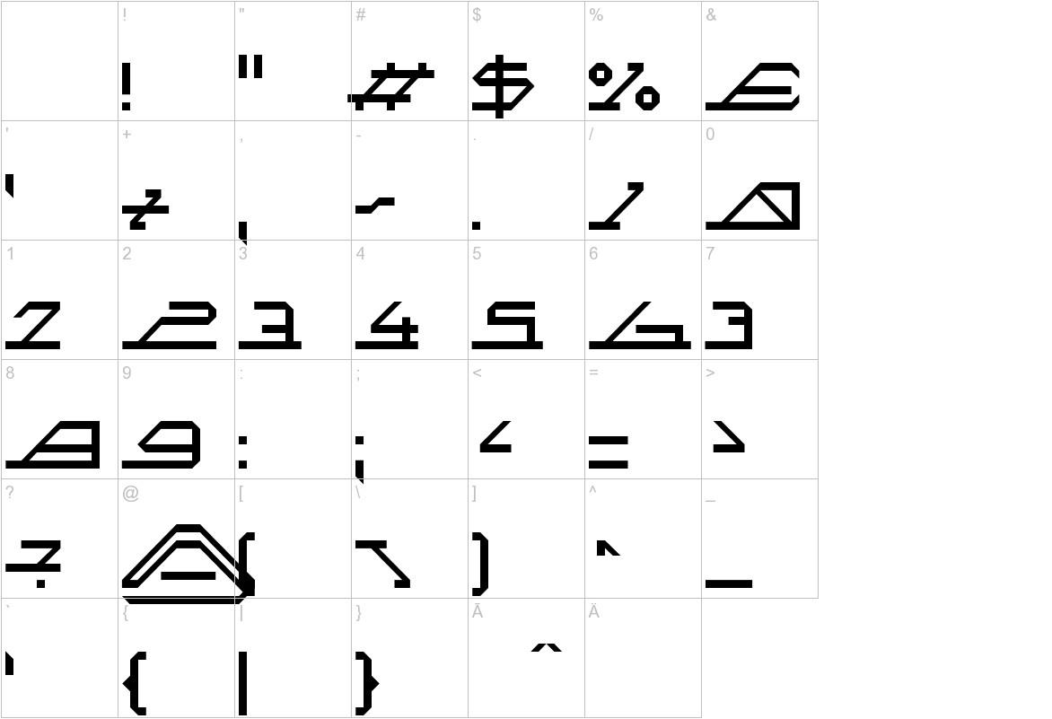 MEGA SLANT LINE characters