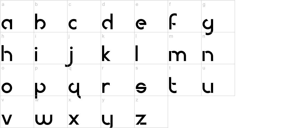 Modern Deco lowercase