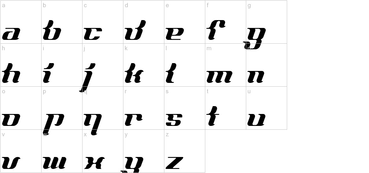 FrenchCurve ALP lowercase