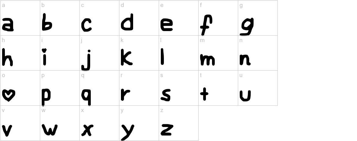My Childish Font lowercase