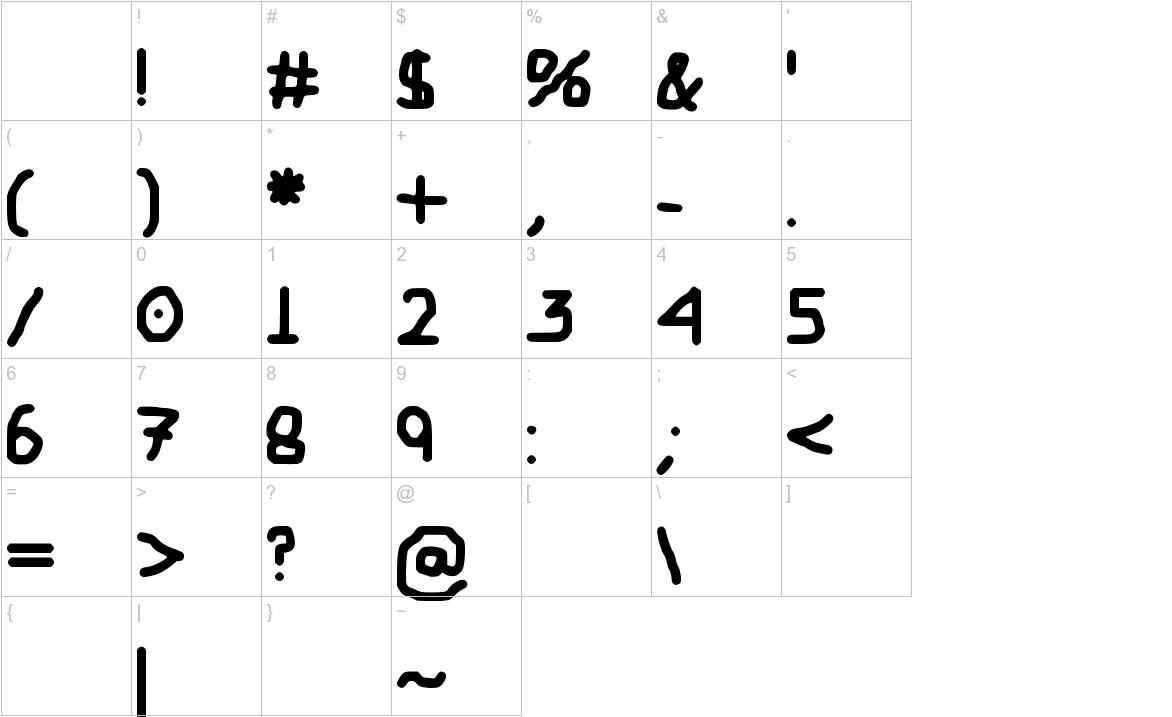 My Childish Font characters