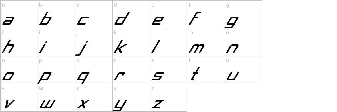 Neon Nanoborg Italic lowercase