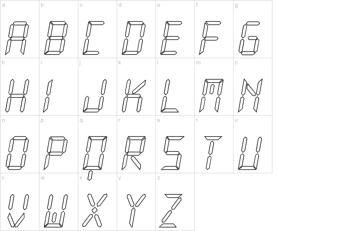 New X Digital tfb Hollow lowercase