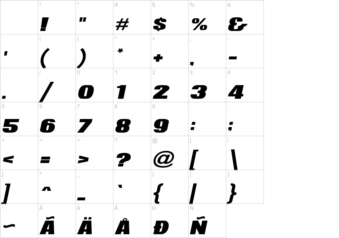 News of the World Wide Italic characters