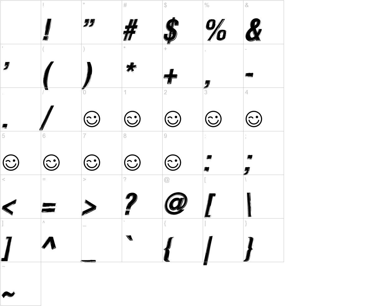 Newside FP ALternate Italic characters