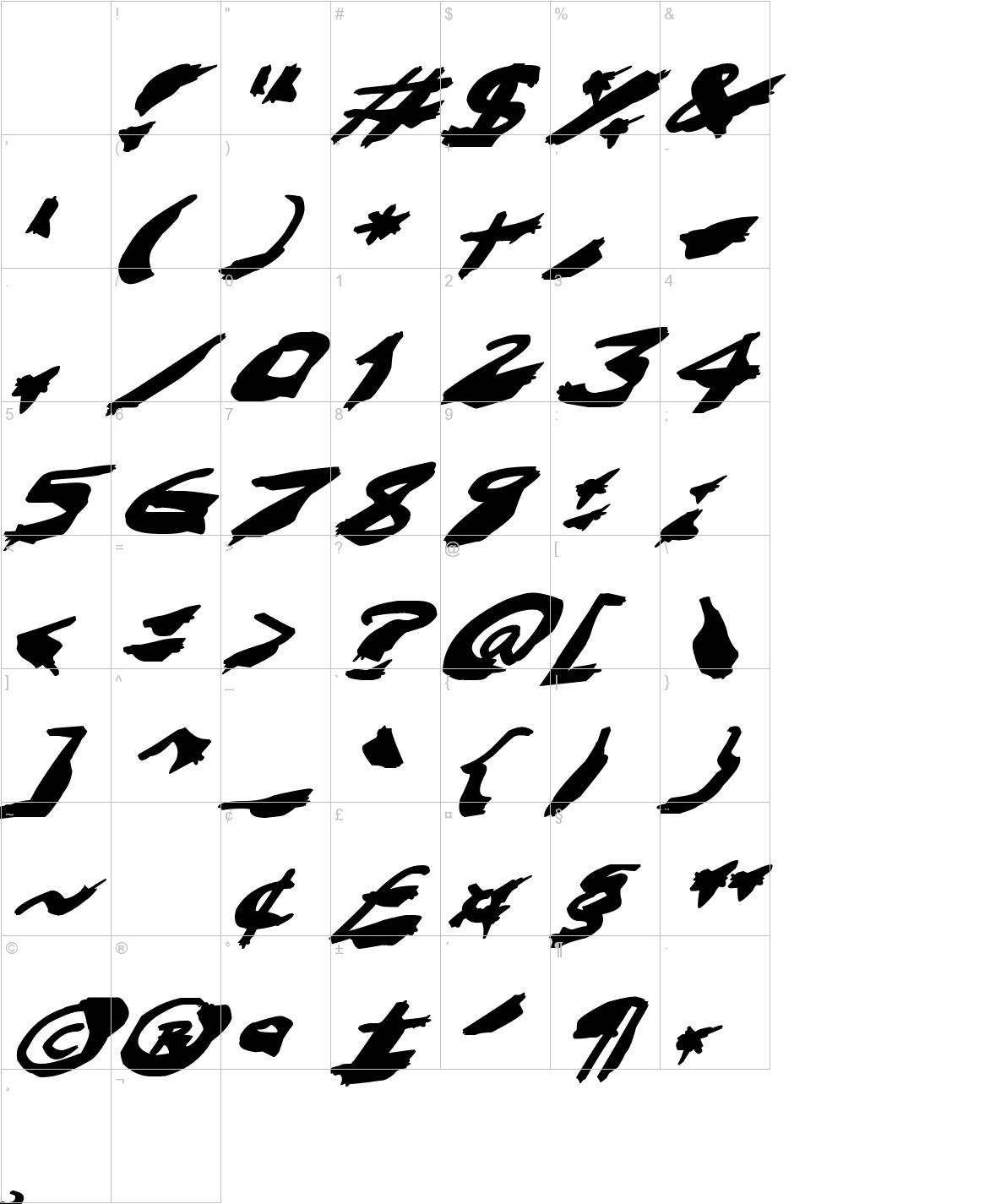 Nightmare Ink Italic characters
