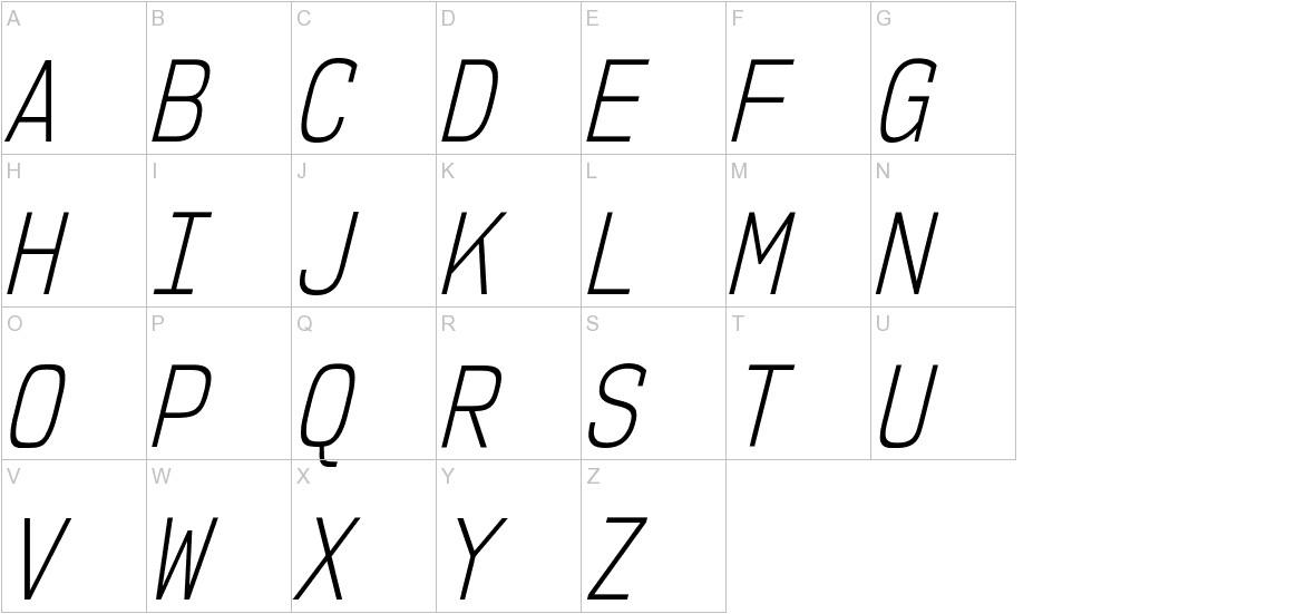 NK57MonospaceCdLt-Italic uppercase