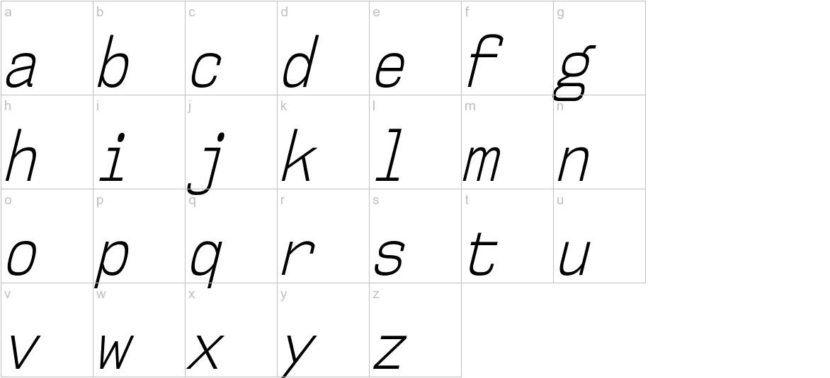 NK57MonospaceCdLt-Italic lowercase