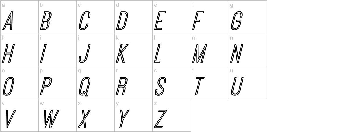 Ostrich Sans Inline Italic lowercase
