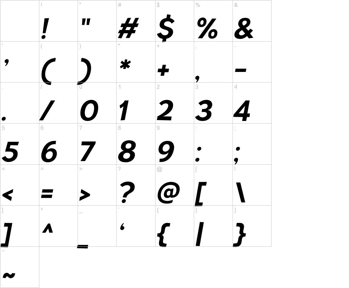 TT Pines Bold Italic characters