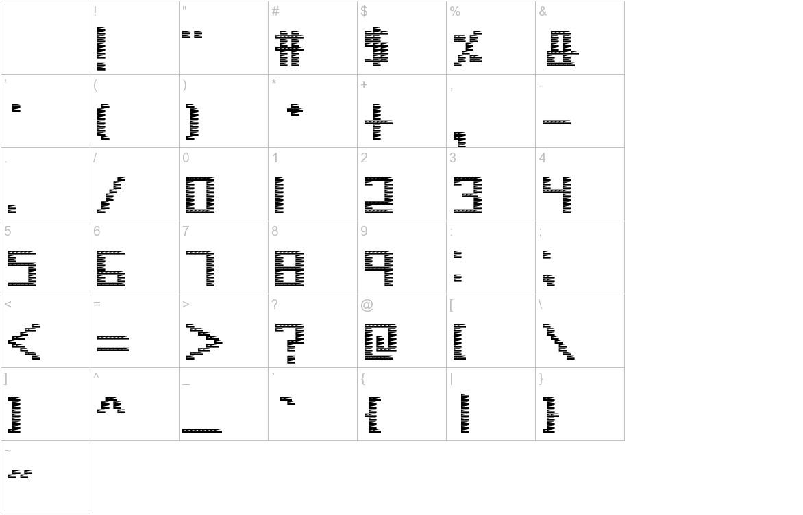 Pinstripe Bitmap characters