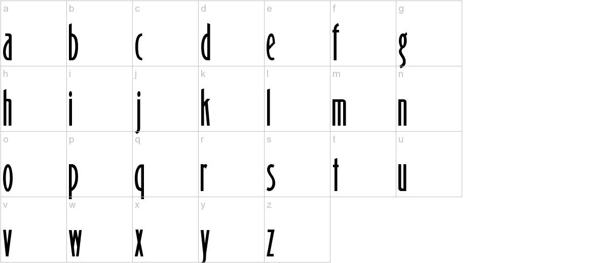 Binner Gothic lowercase