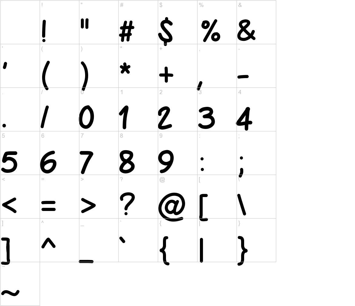 PWBoldScript characters