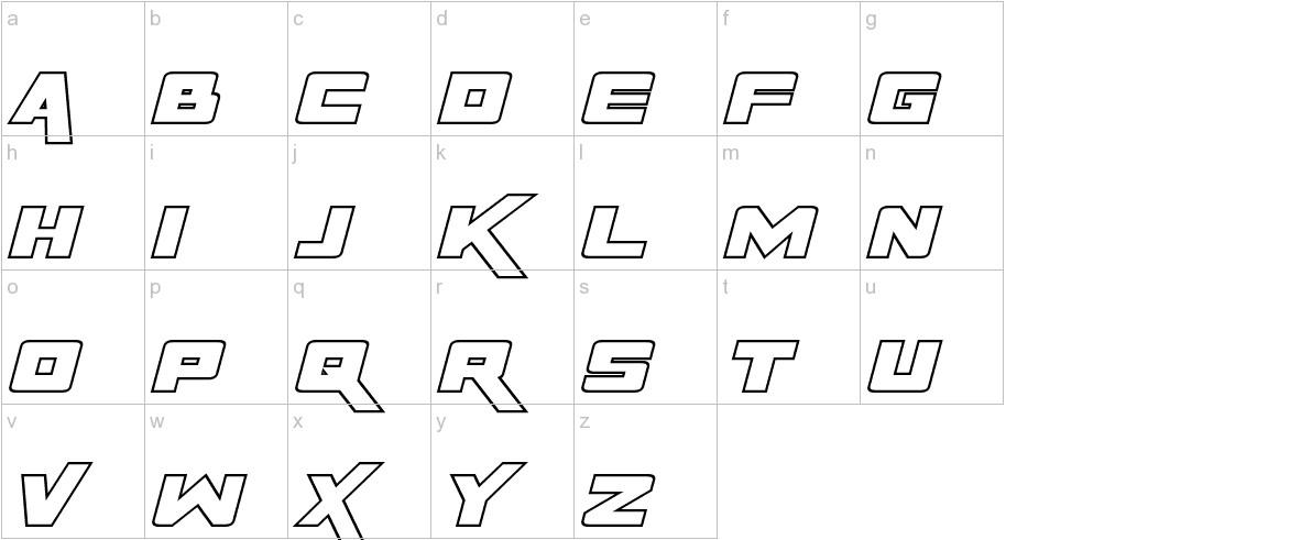 Rapier Zero Hollow Italic lowercase