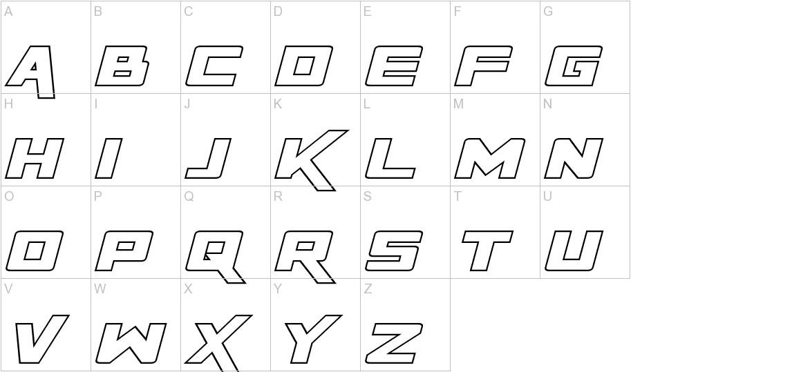 Rapier Zero Hollow Italic uppercase