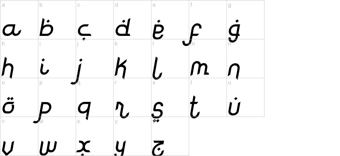 Rodja Alt End Slanted lowercase
