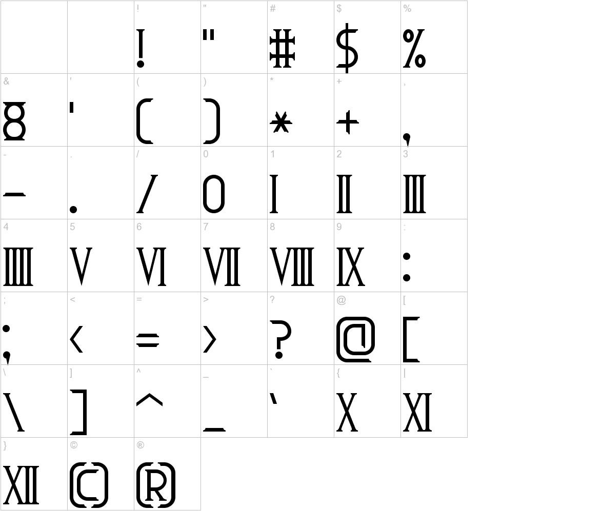 Roman Font 7 characters