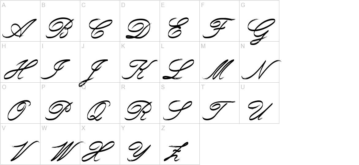 Rough Brush Script uppercase
