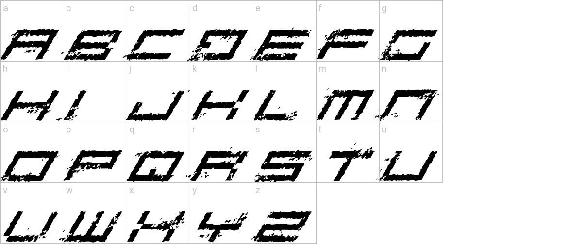 Rusting Robotica Italic lowercase