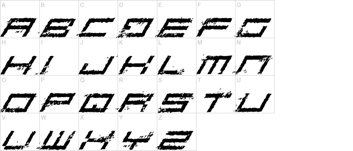Rusting Robotica Italic uppercase