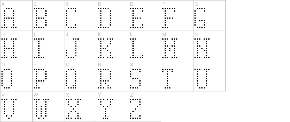 Serif Dot Digital-7 uppercase