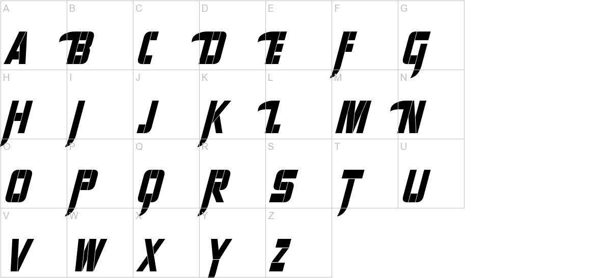 Sharp Avienne Condensed Italic uppercase
