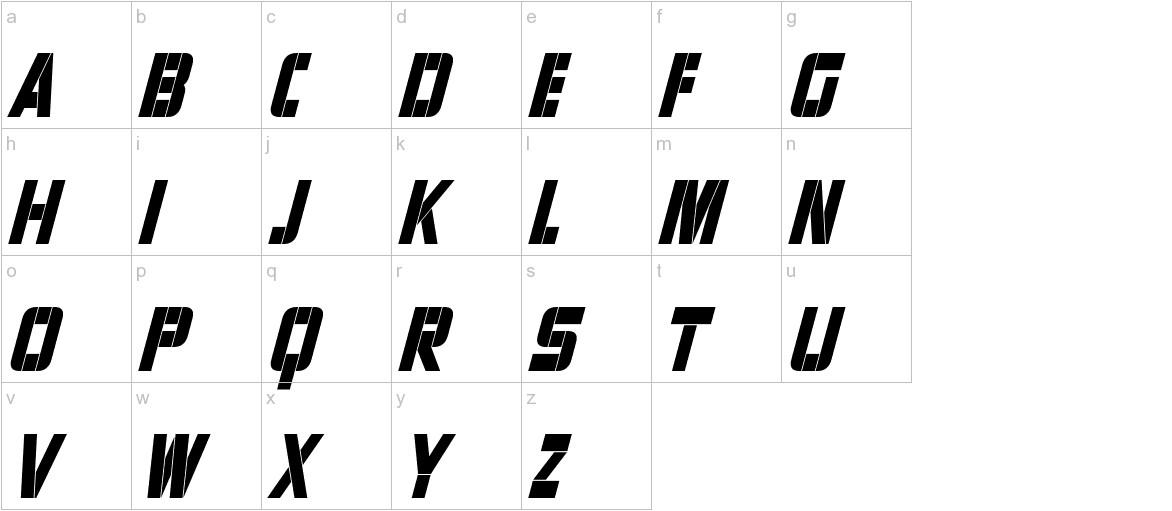 Sharp Avienne Condensed Italic lowercase