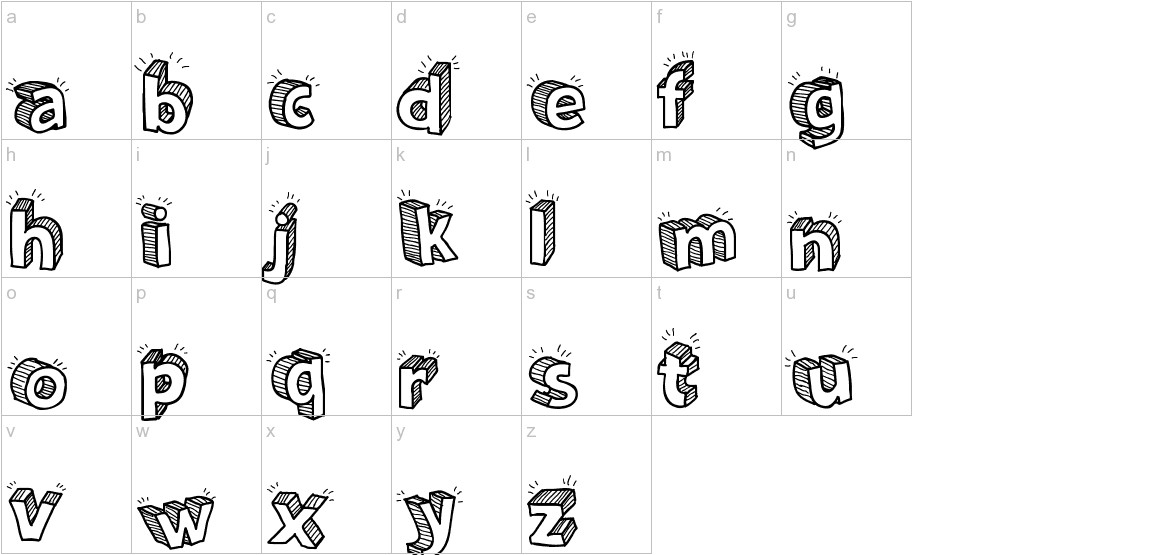 Sketch 3D lowercase