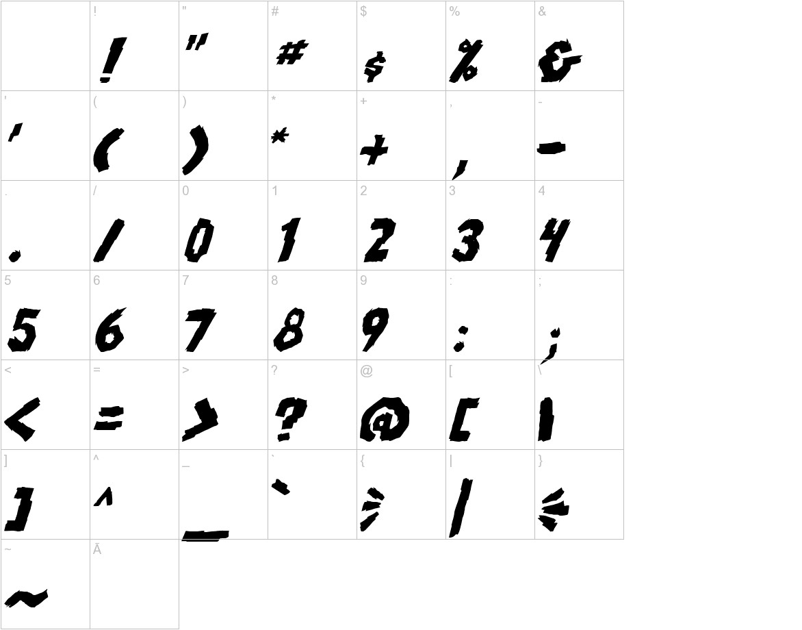 skrunch Bold Italic characters