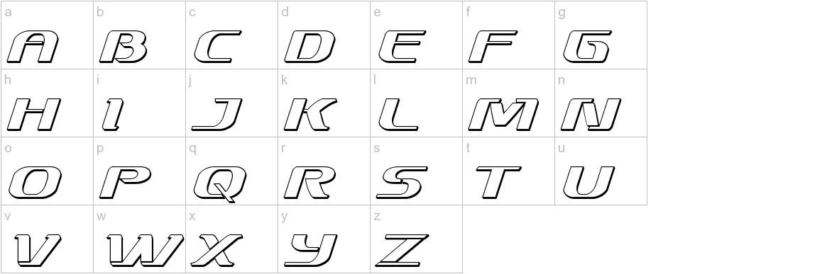 Sky Marshal 3D Italic lowercase