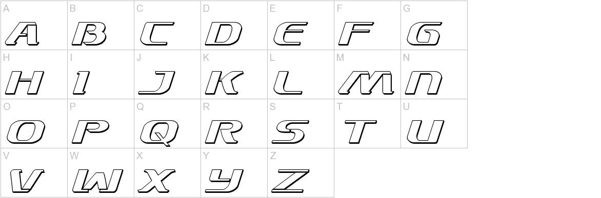 Sky Marshal 3D Italic uppercase