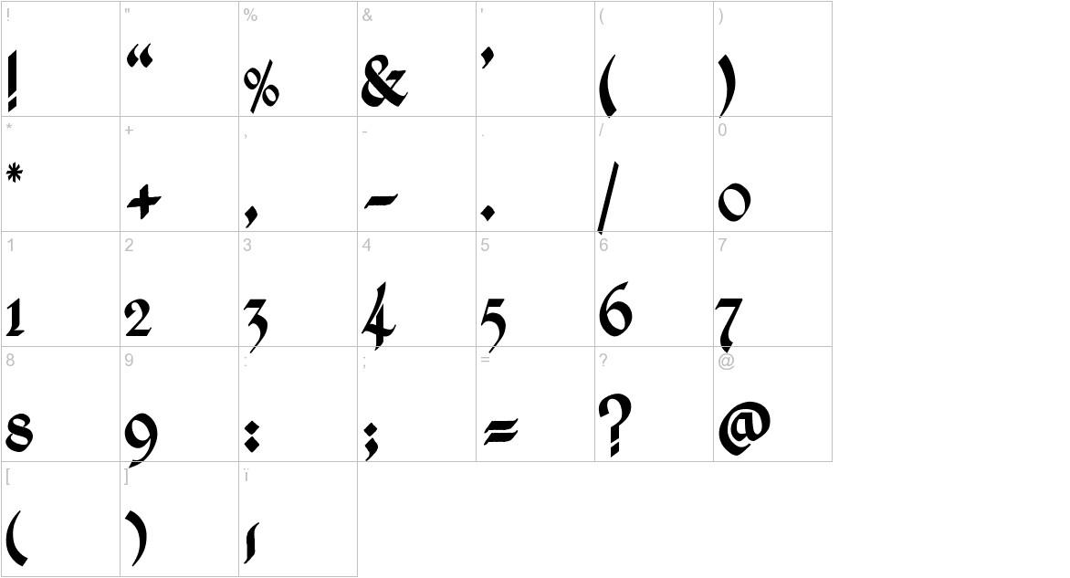 Kingthings Calligraphica characters
