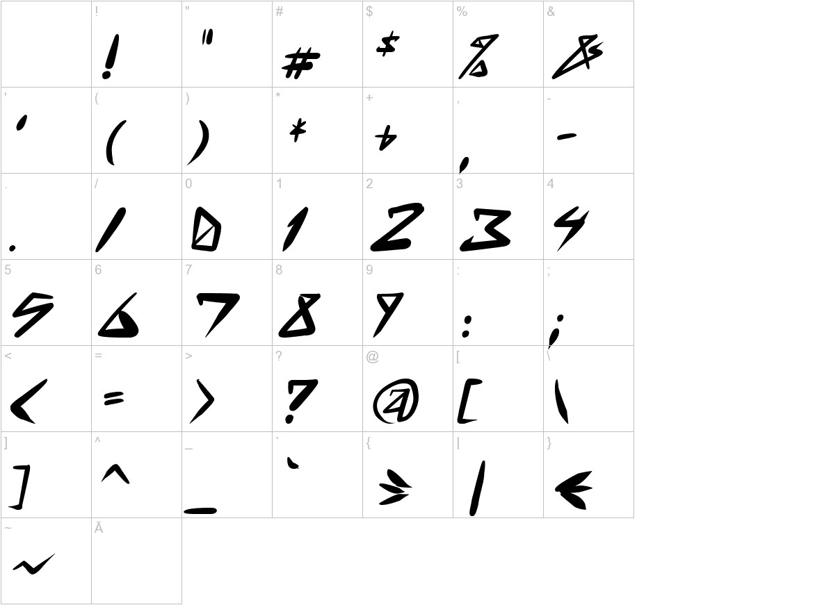 space punk Bold Italic characters