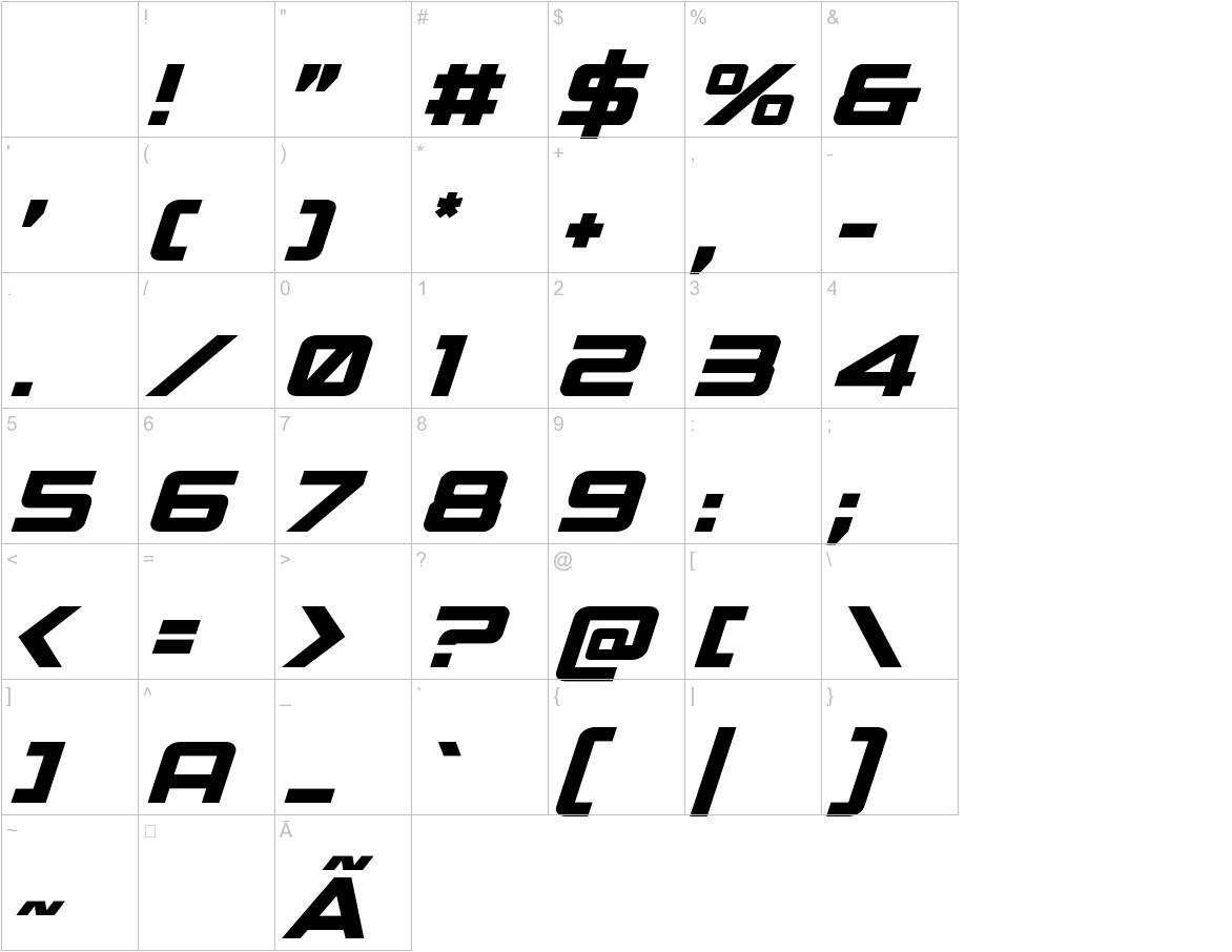Spy Agency Italic characters