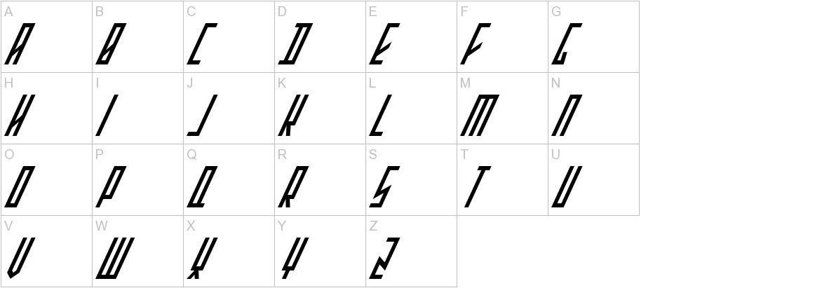 Stretched Electrons Italic uppercase