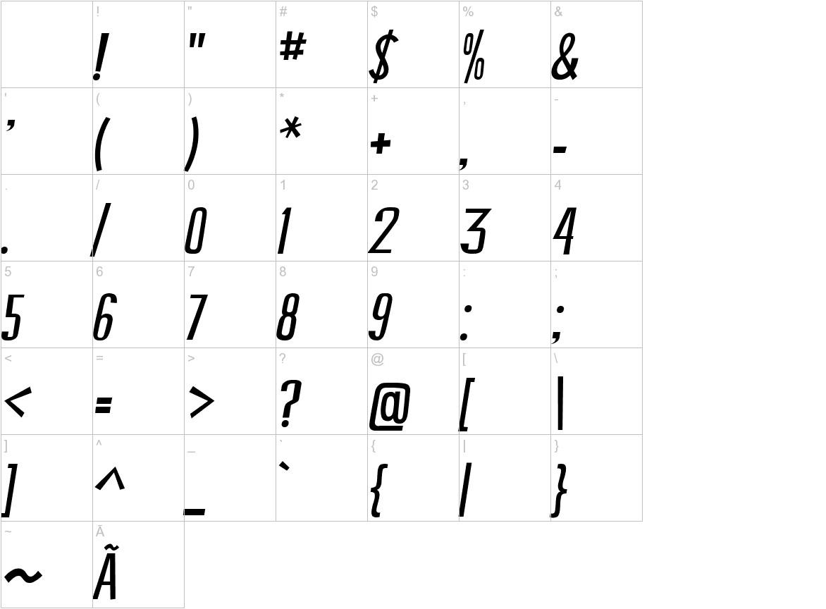 Swallow Falls Italic characters